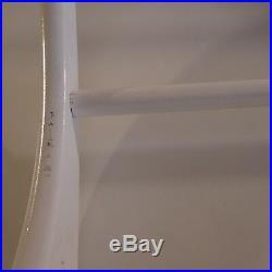 N2053 Etagère murale blanche salle de bain bois vintage art déco XXe France