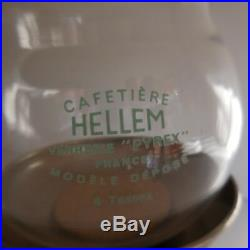 N2770 Cafetière HELLEM verre PYREX support CONA UK Paris art déco design XXe PN