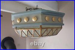Original plafonnier ocotgonal Art déco années 40 bois et verre
