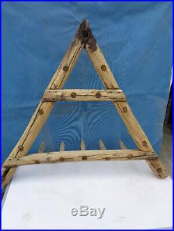 Outil ancien art populaire herse bois porte manteau deco usine atelier chalet