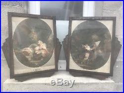 Paire 2 cadre ancien fer forgé ART DECO + gravure ancienne Fragonard Delaunay