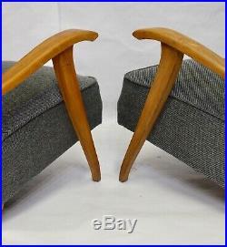 Paire De 2 Fauteuils Vintage Art Déco Accoudoirs En Bois 1930 Tissu