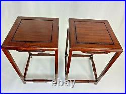 Paire Petites Tables Presentoir Bois De Rose Sculpte Art Deco Annees 30 Asie