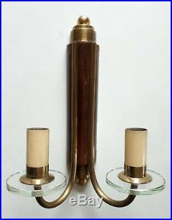 Paire d'appliques en bronze bois et verre Art Déco 1930 / 1940