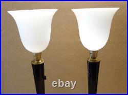Paire de 2 Belles lampes art déco MAZDA ou autre LAQUE NOIRE ET LAITON bois mass