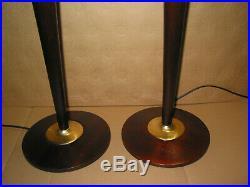 Paire de 2 Belles lampes art déco style MAZDA ou autre ACAJOU ET ACIER bois mass