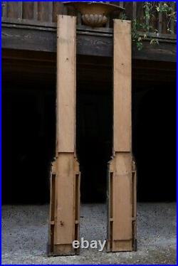 Paire de Devants de Piliers, Bois Peint en Trompe-l'Oeil