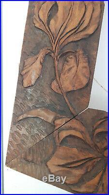 Paire de cadres jumeaux Art Nouveau/Déco bois sculpté. Tableaux Peinturedébut XXe