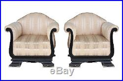 Paire de fauteuil art deco bois noirci et soierie