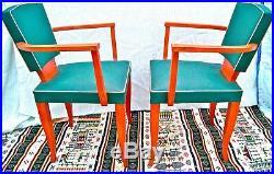 Paire de fauteuils bridge art-déco. Bois & vinyle vert