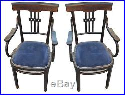 Paire de fauteuils en bois noirci époque 1900 velours bleu