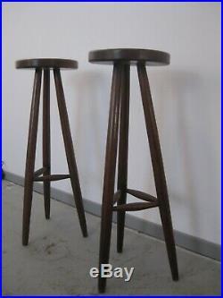 Paire de sellettes bois moderniste brutaliste