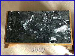 Paire de table de chevet tables de nuit art déco vintage en bois et marbre noir