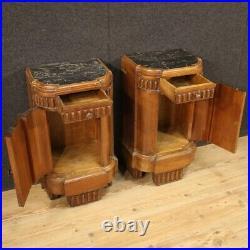 Paire tables de chevet meubles art deco en bois et marbre style ancien