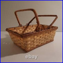 Panier miniature bois osier fait main art déco vintage Design XXe PN N3345