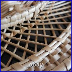 Panier rond bois rotin fait main art déco vintage design XXe France N3372
