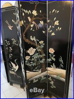 Paravent chinois, 4 panneaux en bois laqué peint à la main, début XXème siècle