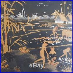 Peinture laquée sur bois paysage scène de genre rizière Asie art déco PN France