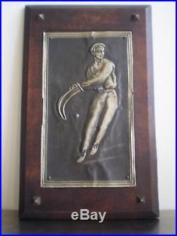 Pelotari Pays Basque Sculpture J Arneguy Panneau Deco 1930 Bois Et Metal Euskadi