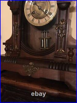 Pendule Ancienne à Poser Art Nouveau bois acajou, Sonnerie Gong, Fonctionne