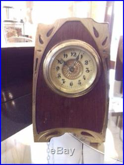 Pendule Horloge Art Nouveau 1900 Bois Et Laiton