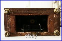 Pendule française BULLE-CLOCK en bois marqueté de filets Art Déco H37cm