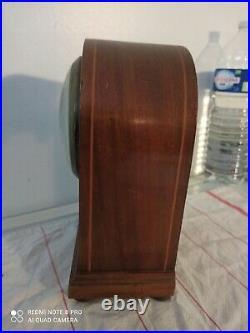 Pendule française BULLE-CLOCK en bois marqueté de filets Art Déco vintage art