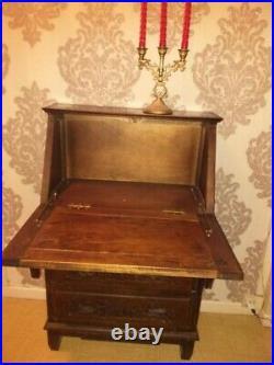 Petit Secrétaire bureau style Breton traditionnel en bois massif