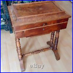 Petite Table Couture Bois Travailleuse XIX ème 2 Tiroirs Manque Clef Bon Etat