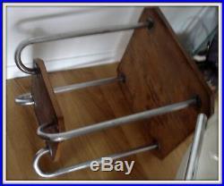 Petite table gueridon Art deco bois structure acier vintage 1930/50