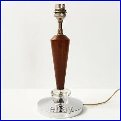 Pied De Lampe Art Deco 1920 1930 En Acier, Noyer & Verre 1920s 1930s Vintage