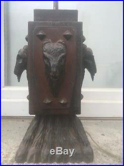 Pied de LAMPE moderniste bois et cuir Art Deco 1930