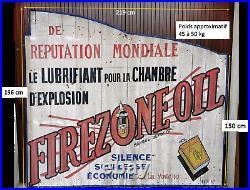 Plaque panneau bois huile FIREZONE OIL (no émaillée) garage voiture bidon 1930