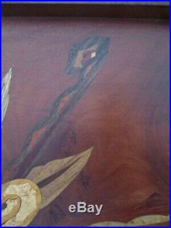 Plateau de service Art Déco marqueterie bois signé Guy élève Majorelle 1925