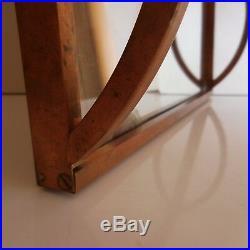 Plateau miroir verre cuivre bois fait main Art Déco design XXe PN France N3047
