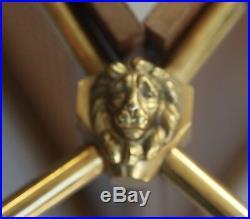 Porte Revue Vintage Raphael Raffel En Bois Cannage Bronze Tete Lion Art Deco