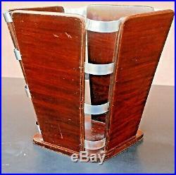 RUHLMANN J. E (1879-1933) (att. À) poubelle, bois et métal, 30x32x26 cm