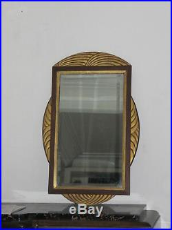 Rare Grand Miroir Art Deco Encadrement En Bois Sculpte Dore Tres Decoratif
