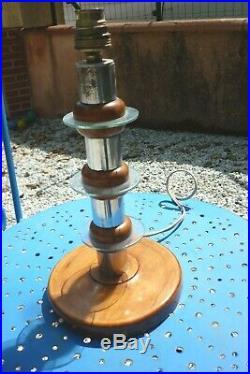 Rare Lampe Art Deco En Verre Et Bois Style Clement Nauny Pour Desny 1930