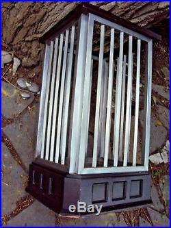 Rare grand porte parapluies d'hôtel art-déco en bois et aluminium 20 ème