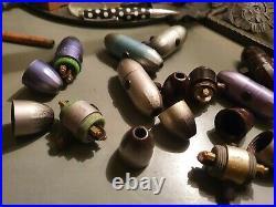 Rares interrupteurs olive Zeppelin bakélite (2) et bois (7) art déco pour lampe