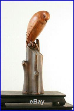 Sculpture animalière monoxyle Art Déco, Noel-Ange MARTINI, oiseau perché noyer