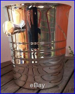 Seau à champagne en métal argenté Christofle France modèle art déco