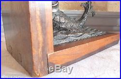 Serre livres art déco lion poisson bronze bois exotique terre mer bookends