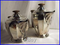 Service THE et CAFE art déco ROUX MARQUIAND métal argenté PLATEAU poignées BOIS