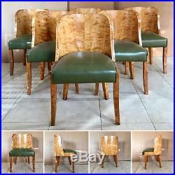 Six chaises art déco gondole années 1925 en placage de bois jaune. XX siècle