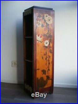 Socle Selette Bibliotheque Ancien Bois Art Deco Decor Fleur Perroquet 1930
