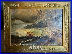 Sous bois en Touraine, tableau en Huile sur Panneau, Expressionniste Art Deco