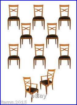 Suite De 2 Fauteuils Et 8 Chaises En Bois Clair De Style Art Deco Neo Classique