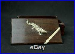 Superbe Boite Coffret D'epoque Art Deco Decor Crocodile Sculpte